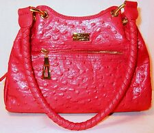 NEW ISABELLA ADAMS RED LEATHER OSTRICH STUNNING SATCHEL W AUTHENTICITY CARD