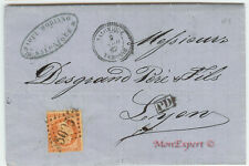 France cover - 1867 - 40 Centime orange - From Salonique to Lyon