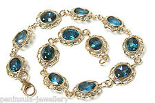9ct Gold London Blue Topaz Bracelet Made in UK Hallmarked Gift Boxed
