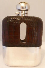 Large Silver Plate Crocodile Skin Bound Glass Hip Flask C1930's James Dixon