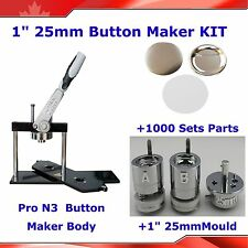 "1""KIT!!   Badge Button Maker Machine+ 1,000 Metal Pin Back Supplies HOT SALE!!"