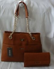AUTHENTIC NEW NWT GUESS CATIE BROWN TOTE HANDBAG PURSE & WALLET