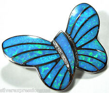 Quality Blue Fire Opal Inlay 925 Sterling Silver Butterfly Pendant For Necklace