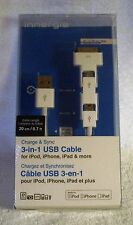 INNERGIE 3 IN 1 USB CABLE-CHARGE AND SYNC-IPHONE 4-S-IPOD-IPAD-MICRO USB-USB-NEW