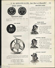 1921 ADVERT Coal Miners' Brass Checks Anemometers Sawyer's Oiled Hat Motor Coat