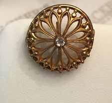 Antique Victorian gold filled Filigree Clear Crystal Pocket Watch Pin Pendant