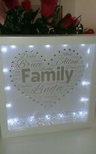 Personalised birthday gift in a 3D box frame with  crystals  and lights.