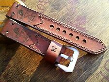 22mm Vintage AMMO SWISS Handmade leather watch strap , Flottiglia Mas logo