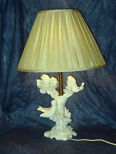"LARGE ITALIAN MADE WHITE GLAZED TABLE LAMP WITH 4 BIRDS IN TREE PERFECT 24""TALL"