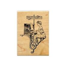 LADY PIANIST COLLAGE small music Mounted rubber stamp, piano #10