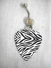TIGHT SMALL PRINT BLACK & WHITE ZEBRA GUITAR PICK CLEAR CZ BELLY BAR NAVEL RING
