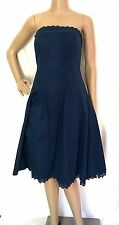 Ted Baker Blue Cotton Blend Strapless & Pleated Dress - Size 8 - EUC