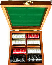 EXCELLENT 3 COLOR SET OF COMPOSIT POKER CHIPS WITH SUITED DESIGN IN WOOD BOX