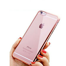 FUNDA PUNTERO IPHONE 7 4.7 SILICONA GEL TRANSPARENTE BORDE ROSA CROMADO