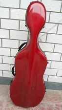 high quality wine red glass fiber cello case /wheells, Shoulder straps 4/4