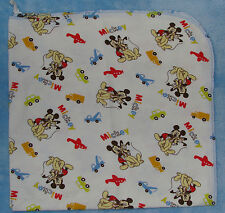 Disney Mickey Mouse & Pluto Cotton Baby Receiving Blanket Vehicles Truck Plane