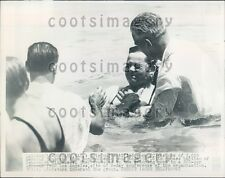 1947 Woman Comes Out of Water Mass Baptism Burbank CA Press Photo