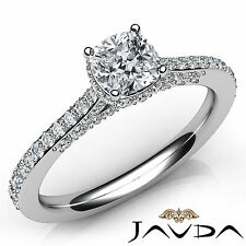 Elegant Cushion Diamond Pave Set Engagement Ring GIA E VS1 18k White Gold 1.37Ct