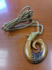 Hawaiian Hand carved Polynesian  Koa Wood Tattoo Fish hook Pendant Necklace