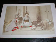 Cdv cabinet old photograph hand coloured women Japan ceremony c1880s