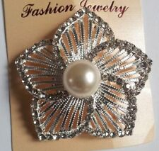 sparkly silver colour flower diamante brooch with centre pearl 5 cm in diameter