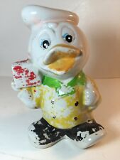 Vintage Ceramic Donald Duck Piggy Bank Disney Collectible Distressed Painted
