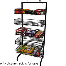 """New Retail 5 Basket Wire Black Candy Rack with Sign Holder Clip 24""""w X 18""""dx56""""h"""