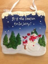 It's The Season To Be Jolly! Ceramic Christmas Snowman Sign Holiday Snow