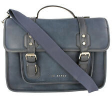 New Designer Ted Baker Men's Grey Navy Real Leather HONKAR Satchel Messenger Bag