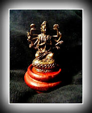 Brass Multi-Armed Goddess Durga Kali  Statue on Lovely Wood Base +Ganesh Pdts
