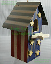 USA Patriotic Birdhouse Stars & Stripes Red White Blue Wooden Decorative NICE!