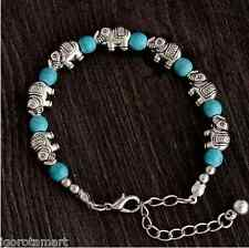 New Small 23cm Retro Elephant Adjustable Chain Turquoise Bead Bracelet UK Post