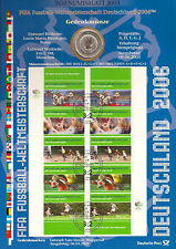 "Germany ""Numisblatt Soccer WC/2003"", 10 Euro comm. coin+FDC mini stamp sheet"