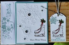 CHRISTMAS HANDMADE CARD KIT WITH 4 GIFT TAGS, STAMPIN UP WINTER MEMORIES