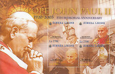 Sierra Leone 2010 MNH Pope John Paul II 5th Memorial Ann 4v M/S II Popes Stamps