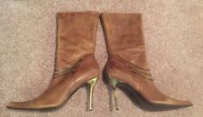 Distressed Leather Steve Madden Rocker Stiletto Boot With Chains Size 10B