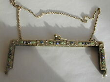 Antique Art Deco Metal enamel & stones Clasp/Frame from a bead bag/purse *Mint*