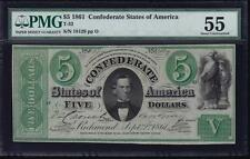 T-33 1861 $5 Confederate Civil War Pmg 55 About Uncirculated