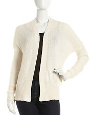 THEORY Ranya Dancer Cotton Open Cardigan Knit S Small Ivory Loose Woven Relaxed