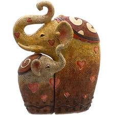 NEW Cute Elephant Mother & Baby Hugging Family Heart Statue Ornament