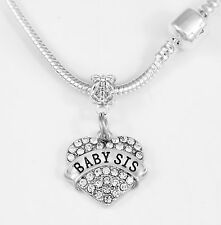 Baby Sis Necklace Baby sister best jewelry gift Crystal Heart Free item included