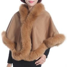 Cashmere Shawl Cape Wrap Scarf with Fox Fur Trim Camel New Real