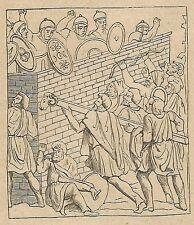 A4245 Diroccamento di un ariete - Incisione - Stampa Antica del 1887
