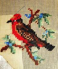 Bird in Floral Tree nos Vintage Madeira Preworked Penelope Needlepoint Canvas