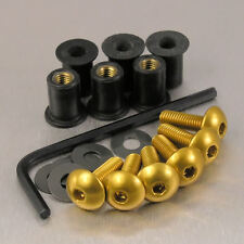 SCREEN BOLT KIT YAMAHA YZF R125 '08-'12 6 BOLT GOLD ALUMINIUM