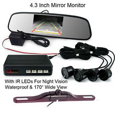 "License Plate Car IR Reverse Camera Parking 4 Sensor Alarm Kit+4.3"" LCD Monitor"