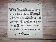 Handmade Shabby Chic Wall Plaque Friendship Best Friend Gift