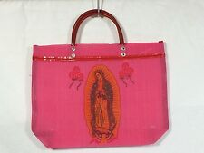 PINK Mexican Market Bags VIRGIN DE GUADALUPE Reusable Tote Beach Mesh Purse NEW