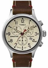 Timex TW4B04300 Men's Expedition Indiglo Chronograph Brown Leather Band Watch