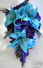 17 PIECE PACKAGE Wedding Bridal Cascade Bouquet Peacock Purple Turquoise Flower